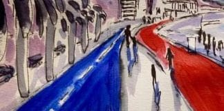 Peinture de la ville de Mougins en homme aux victimes de l'attentat de Nice