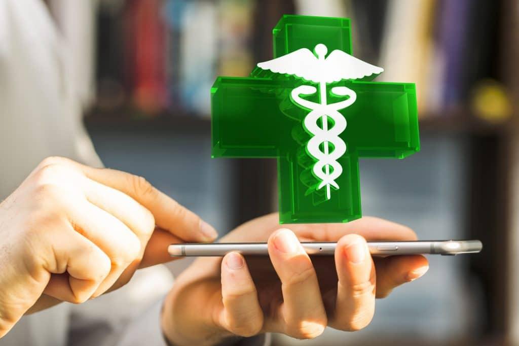 illustration pharmacie en ligne via smartphone